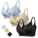 Women's Maternity Seamless Wireless Crossover Nursing Bras With Extenders