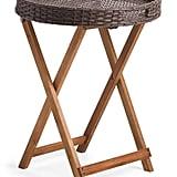 Round Folding Wicker Tray Table