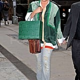 Jessica Simpson Goes Bold in Green For Lunch in the City