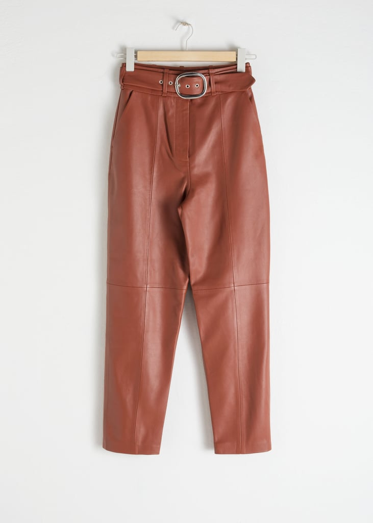 & Other Stories Belted Leather Pants in Rust