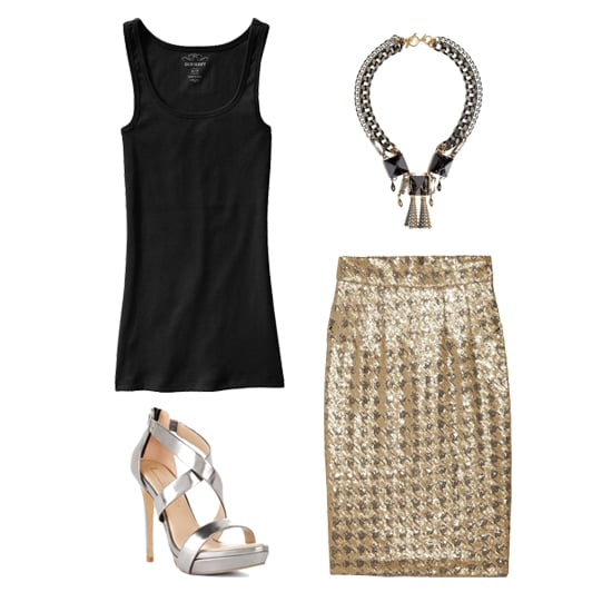 Get the most out of a gold and silver pencil skirt by tucking in a simple black tank into it. Add an eye-catching statement necklace and metallic heels for extra pop. Shop the look:  Old Navy Perfect Rib-Knit Tank ($7) Anton Heunis Multiple Chain Black Square Statement Necklace ($404) Paul & Joe Sagrada Sequined Pencil Skirt ($490) BCBG Max Azria Senna Sandal ($225)