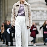 A Stripy Top, Wide-Leg Trousers, and Cozy Coat