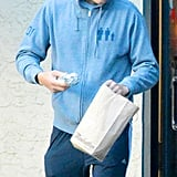 Ashton Kutcher wore a hooded sweatshirt in LA.