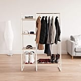 Iris Metal Garment Rack With Wood Shelves in White and Light Brown