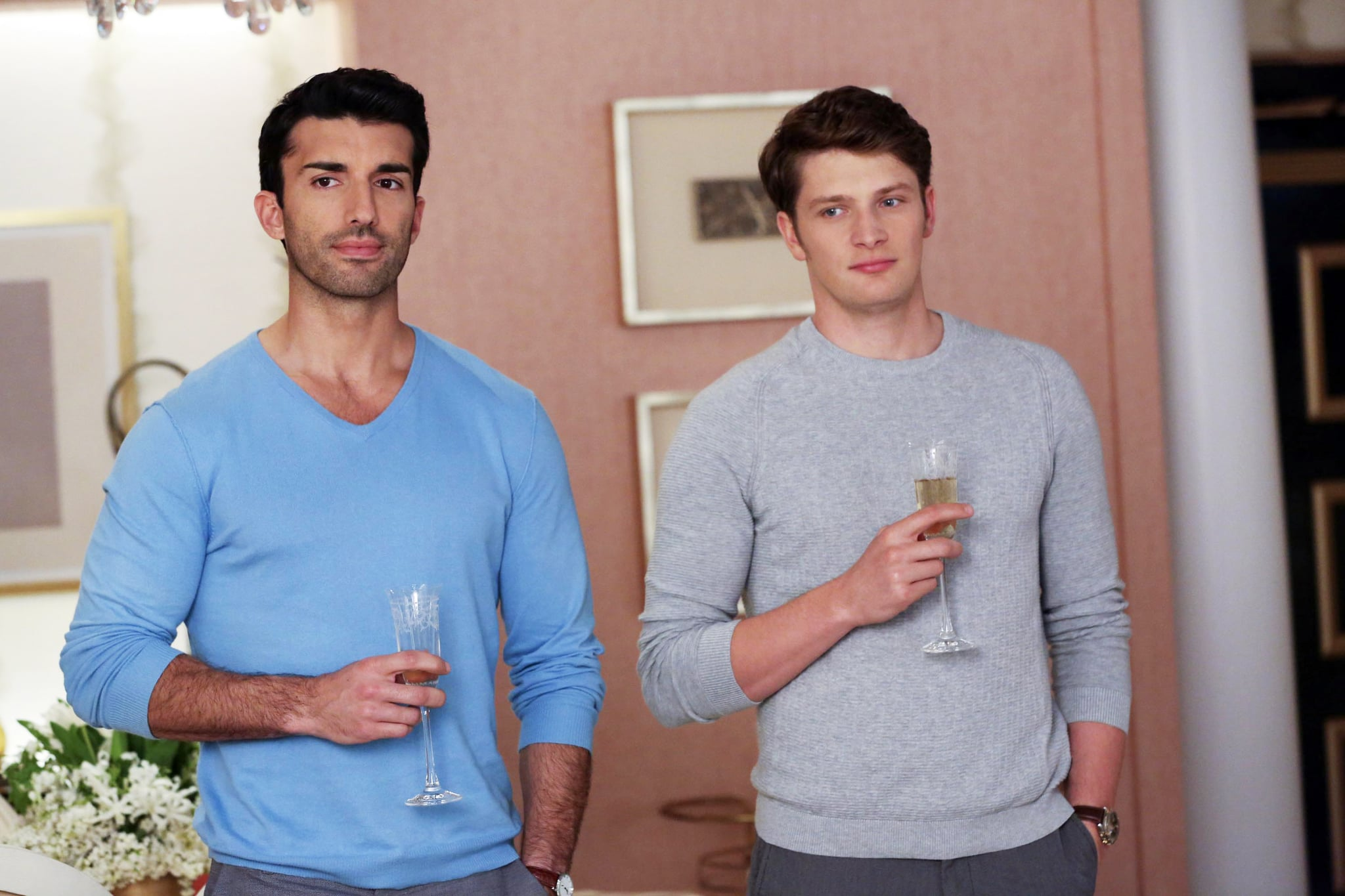 JANE THE VIRGIN, l-r: Justin Baldoni, Brett Dier in 'Chapter Forty-Two' (Season 2, Episode 20, aired May 2, 2016). ph: Michael Yarish/The CW/courtesy Everett Collection