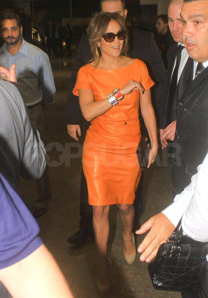 J Lo waved to fans in Brazil.