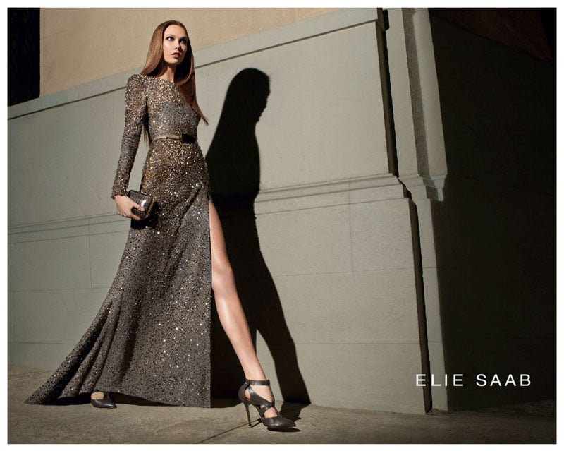 Looks like the leg slit is still here — Karlie Kloss strikes a pose in this ultraembellished gown in Elie Saab's newest campaign.