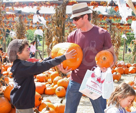 Slide Photo of Hugh Jackman and His Kids Picking Pumpkins in Connecticut