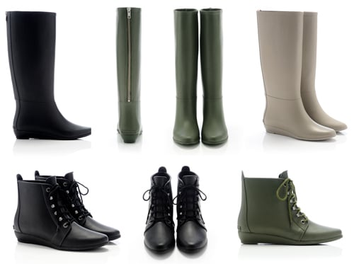 ">> Loeffler Randall has just launched a selection of rain boots for Fall, based off of a couple of their most popular leather boot styles. The first: a lace-up rubber rain bootie ($165) modeled after the Loeffler Randall  <product href=""http://www.loefflerrandall.com/LRProduct.aspx?ProductID=155&CategoryID=10"">June </product>bootie, and the second is a knee-high rubber rain boot ($195), featuring a small wedge and back-zip replicated from the brand's classic  <product href=""http://www.loefflerrandall.com/LRProduct.aspx?ProductID=186&CategoryID=11"">Matilde </product>boot. ""The intent was to create a slimmer, more chic version of a rain boot. I wanted to offer a rain boot that is versatile and can be worn with any outfit on a rainy day — a rain boot that enhances, rather than distracts from what you are wearing,"" explained Loeffler Randall creative director Jessie Randall.  The collection comes in army green, black, and taupe and is currently available for purchase at <product href=""http://www.loefflerrandall.com/LRCatalog.aspx?CategoryID=68"">LoefflerRandall.com</product> — a look at the full offering, below."