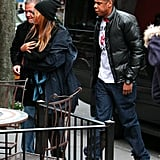 Beyoncé Knowles and Jay-Z headed to an NYC eatery with Blue Ivy Carter.