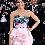 Freida Pinto smiled at the opening of the Cannes Film Festival and premiere of Moonrise Kingdom.