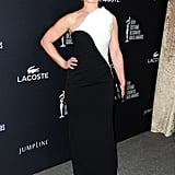Elisabeth Röhm donned a sophisticated black-and-white dress.