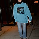 Gigi's MTV sweatshirt by Marc Jacobs took us way back — especially when you add in those tiny '90s style shades.