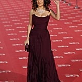 Salma Hayek waved to the press on the red carpet in Madrid.