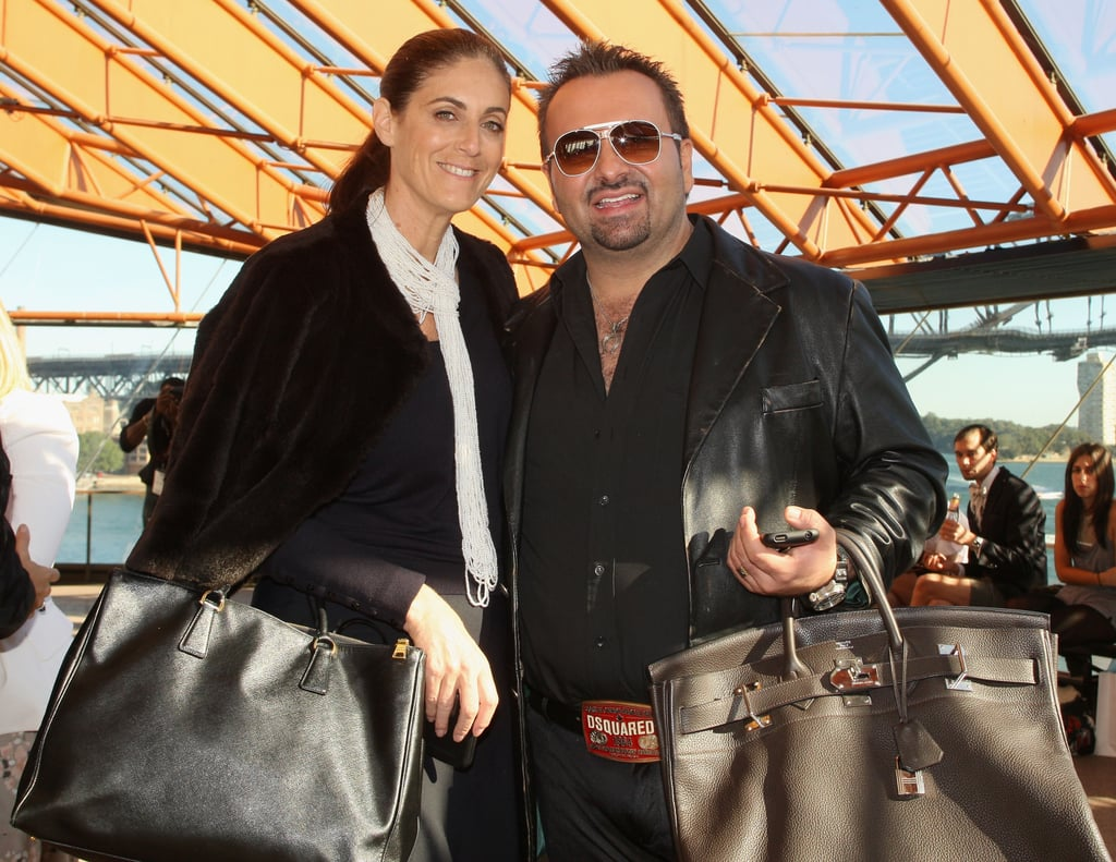 Jackie Frank and Napoleon Perdis had matching jumbo bags at Dion Lee in 2010.