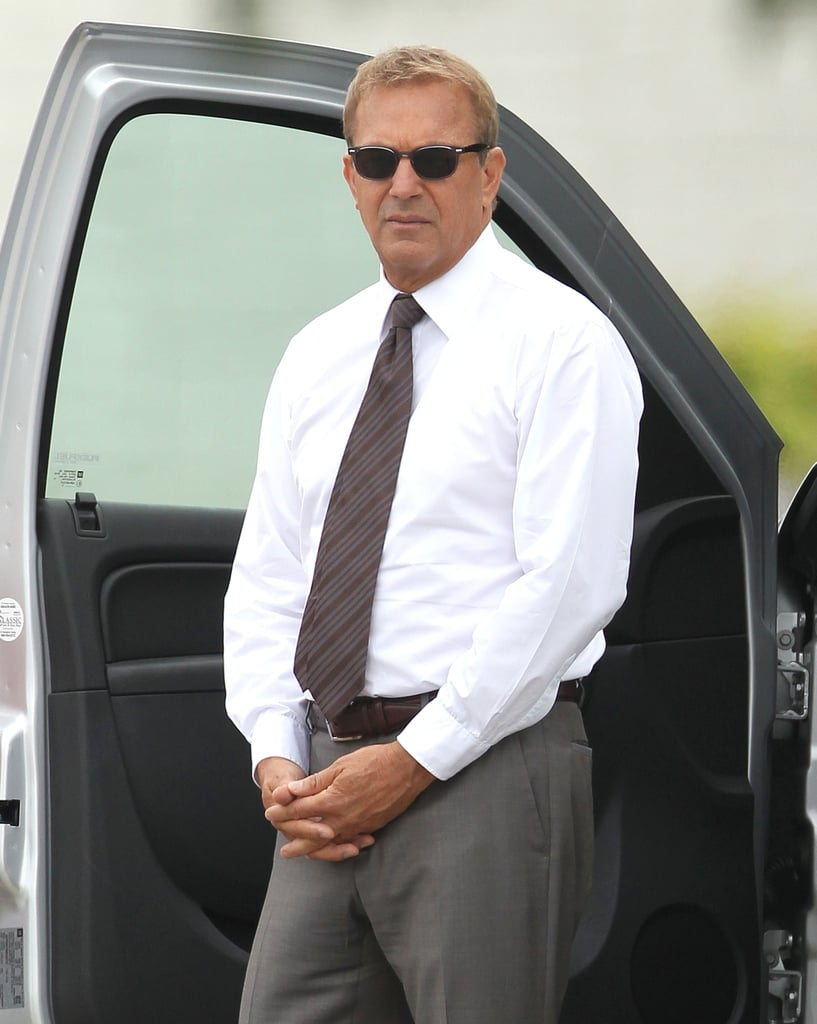 Kevin Costner popped up on the Draft Day set on Wednesday in Cleveland, OH.