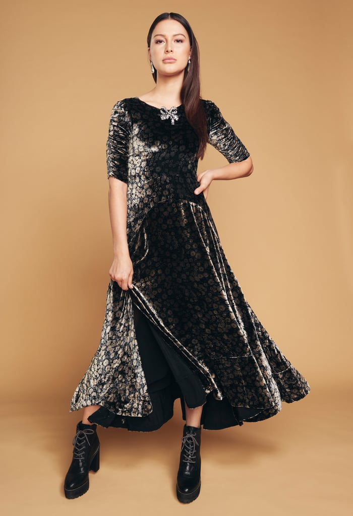Another velvet dress — but this time patterned
