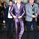 Harry Styles Wearing a Purple Alexander McQueen Suit in 2017