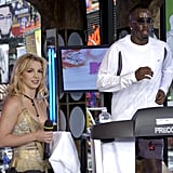 Britney Spears held a towel for P. Diddy when he competed in a treadmill-a-thon in 2003.