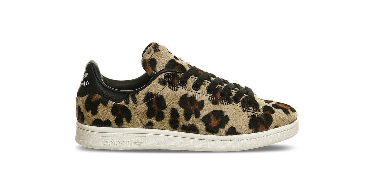 Adidas Stan Smith Leopard Print Pony Hair Trainers 163 100