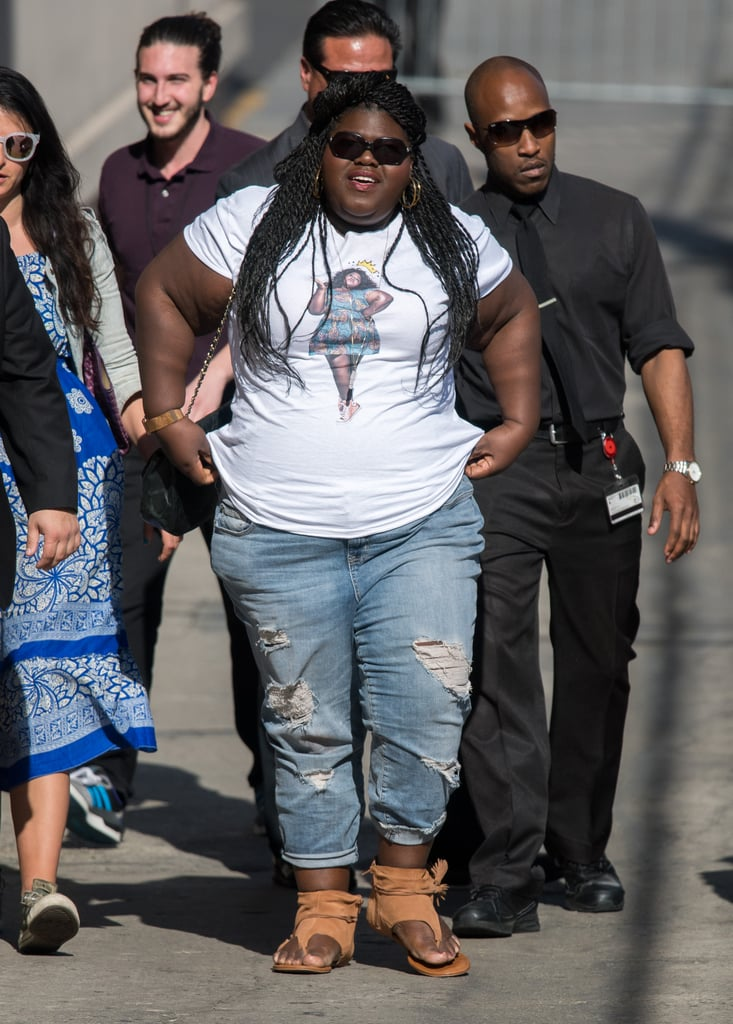 Gabourey Sidibe Wearing A T Shirt With Her Face On It 2017