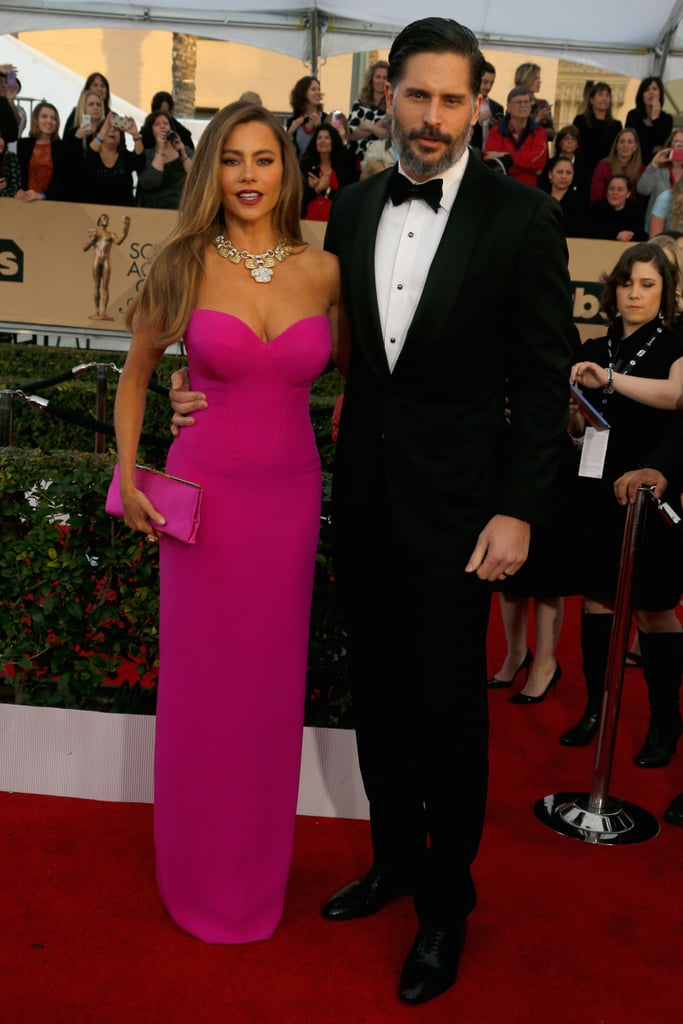 The SAG Awards got a whole lot hotter when Sofia Vergara and Joe Manganiello hit the red carpet together at The Shrine Auditorium in LA. Sofia — who is nominated for outstanding performance by an ensemble in a comedy series along with the rest of the Modern Family cast — looked stunning in a hot pink gown while Joe made a dashing appearance in a black and white tux. The event marks the couple's second red carpet outing since they tied the knot in Florida in November 2015. The following month, Joe and Sofia were a vision of love at the Star Wars: The Force Awakens premiere in LA. Keep reading to see more of the duo's night, and then check out all of the SAG Awards winners.