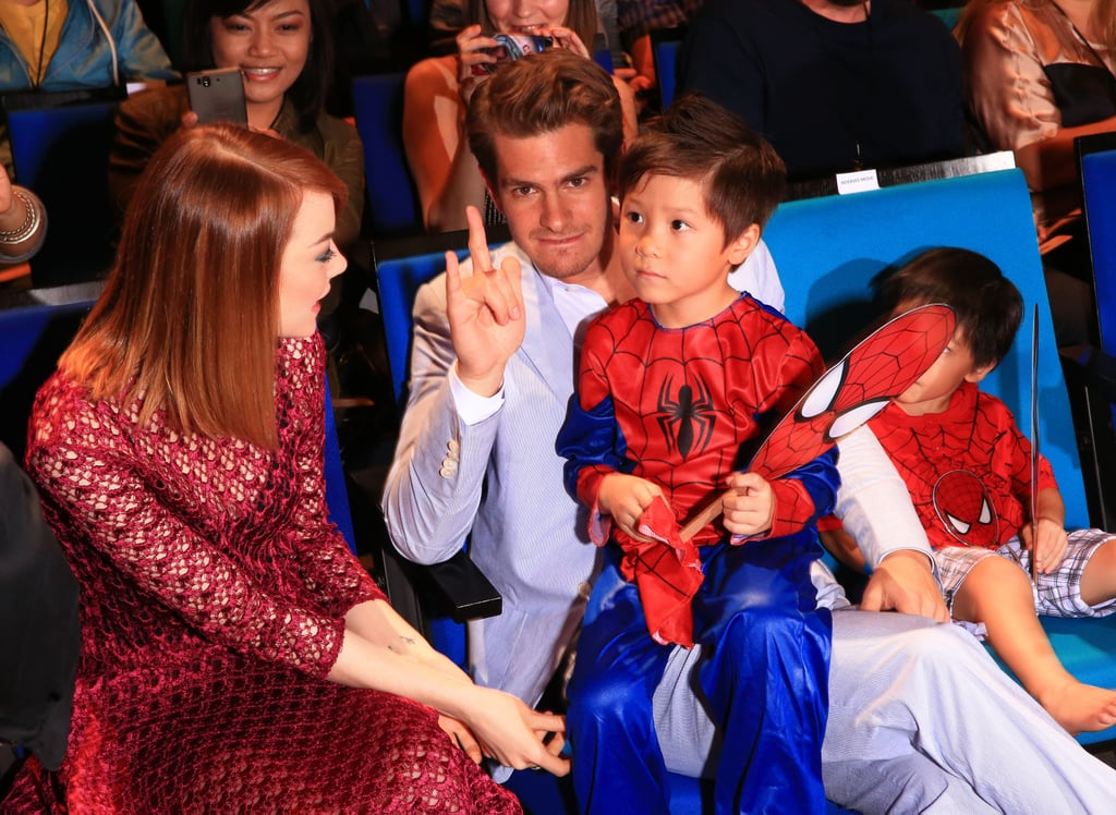 Emma and Andrew met up with this tiny Spider-Man.