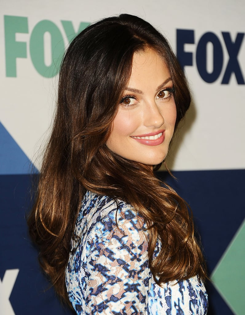 Also one to stick with a signature look, Minka Kelly wore her brunette mane in blown-out waves with a rosy makeup palette.