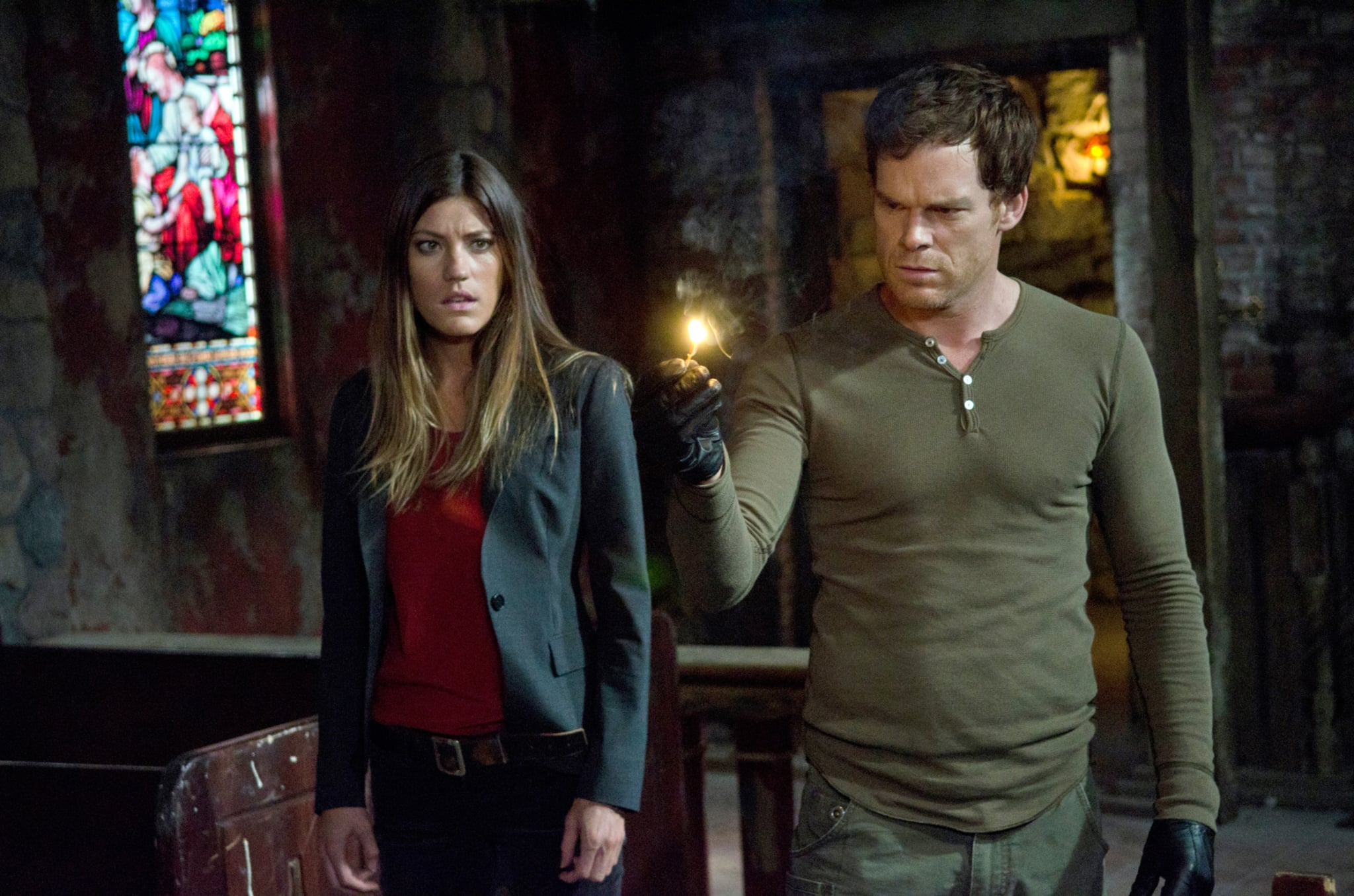 DEXTER, (from left): Jennifer Carpenter, Michael C. Hall, 'Are You...?', (Season 7, ep. 701, airs Sept. 30, 2012), 2006-2013. photo: Randy Tepper /  Showtime / Courtesy Everett Collection