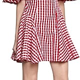 House of Holland Off Shoulder Cotton Blend Gingham Dress
