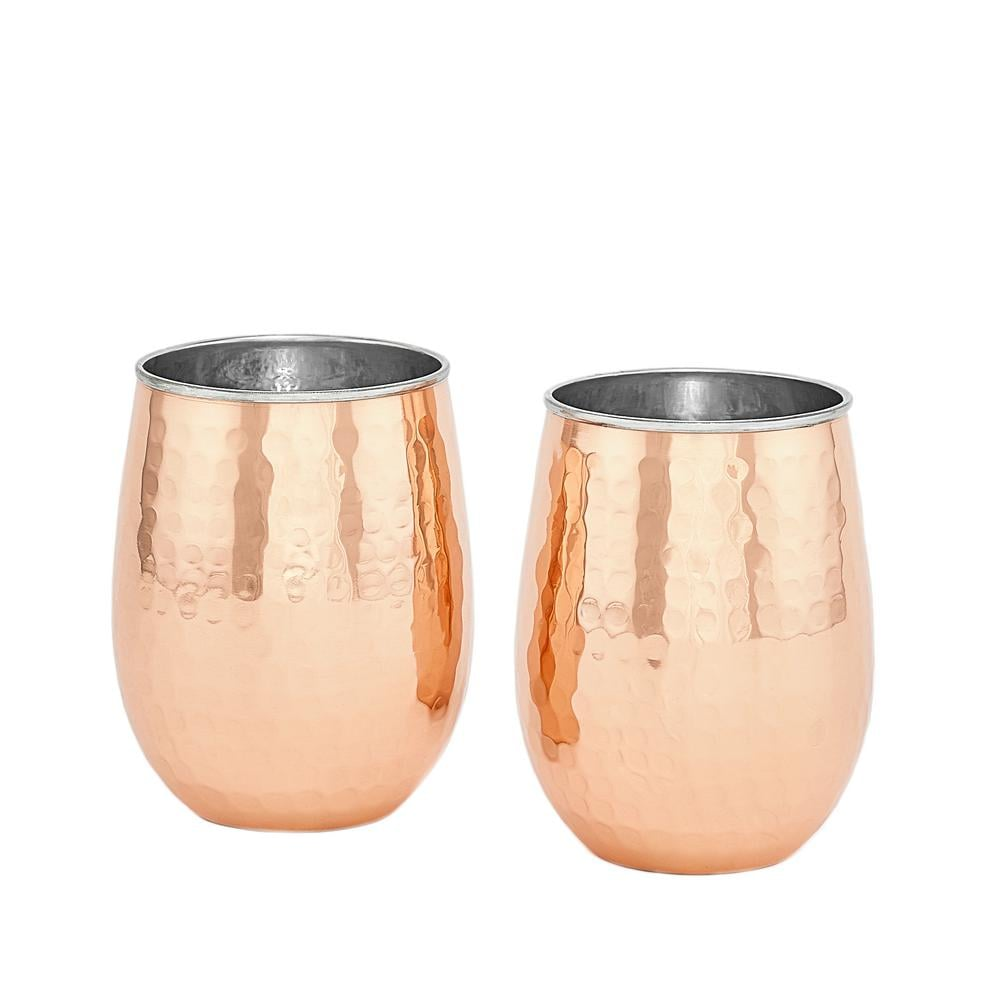 Hammered Solid Copper and Stainless Steel Stemless Wine Tumblers ($54 per set of 2)