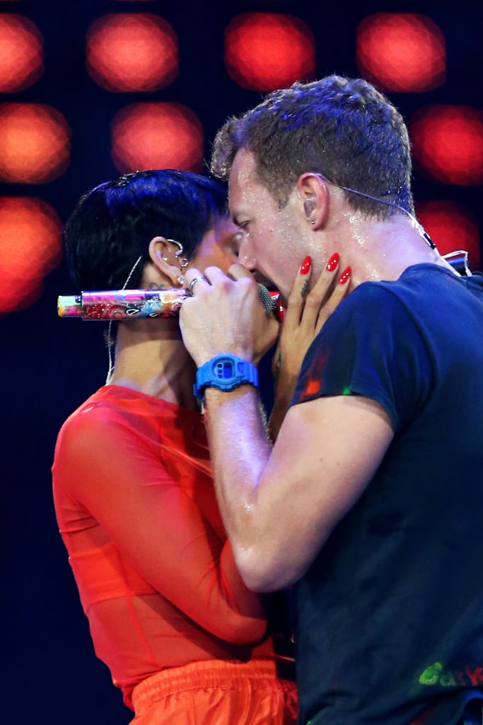 Rihanna and Chris Martin got close on stage at the London Paralympics closing ceremony.