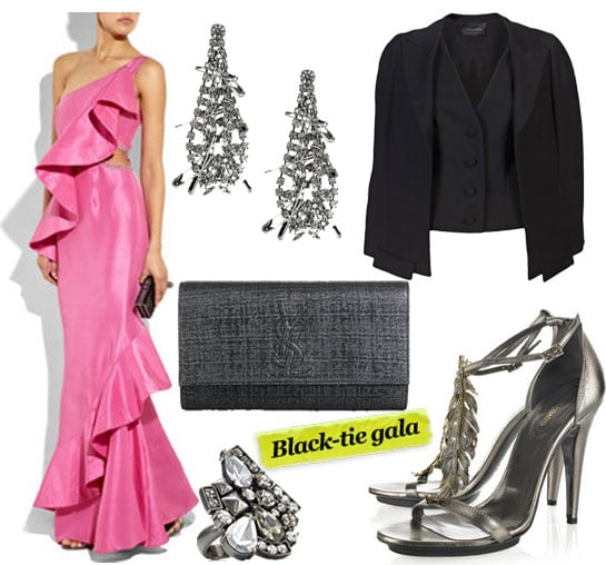 Rachel Gilbert Ivana Ruffle Gown ($1,185), Tom Binns Swarovski Safety Pin Earrings ($250), Thakoon Over the Shoulder Jacket ($1,235), Yves Saint Laurent Belle De Jour Pochette ($583), Juicy Couture Pyramid Cluster Ring ($66,originally $88), Roberto Cavalli Feather Leather Sandals ($1,075)