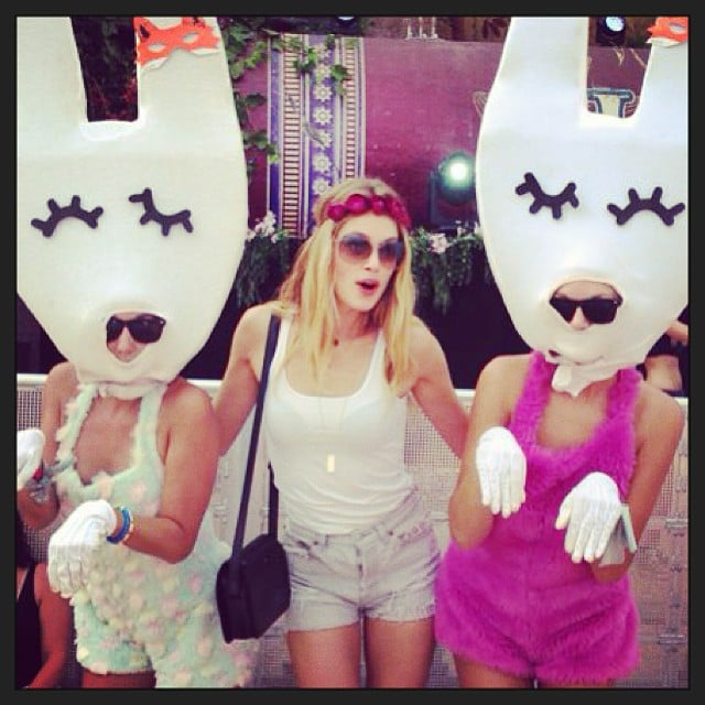 Doutzen Kroes met up with girls in bunny costumes at the Tomorrowland festival. Source: Instagram user doutzen