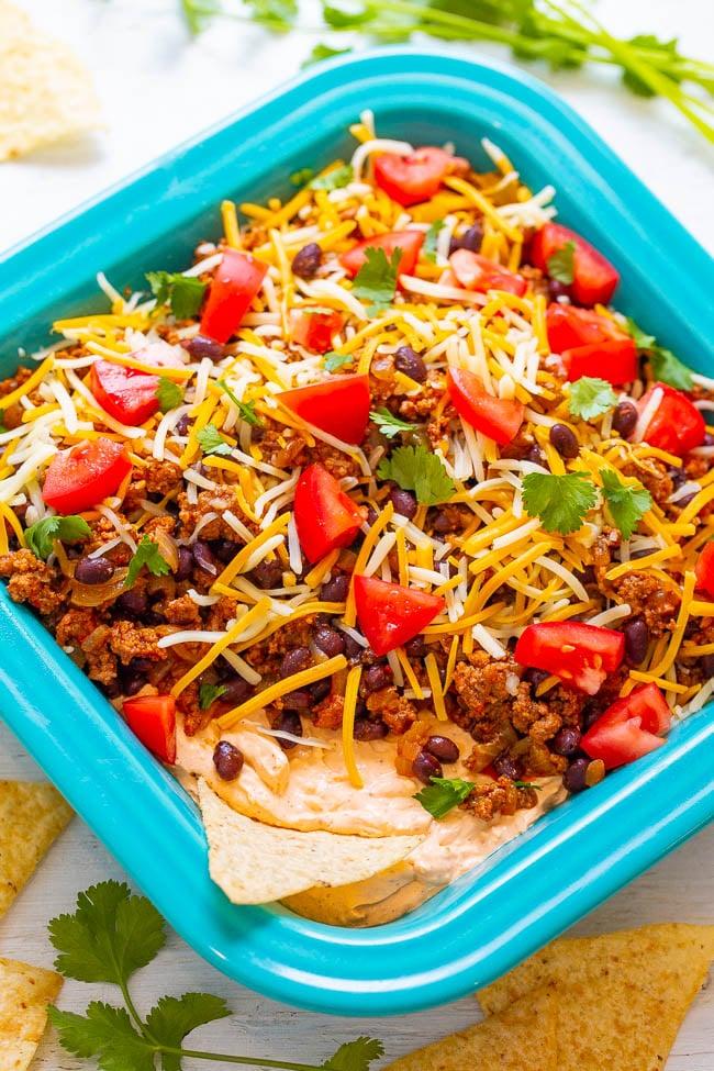 Layered Beef Taco Dip