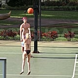 Hayden Panettiere shoots and scores in a black bikini with boyfriend, New York Jets wide receiver, Scotty McKnight, while playing basketball in Hawaii.