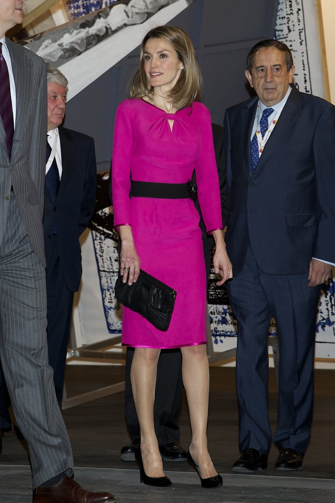 The princess knows that a bright shift goes a long way in making a stylish statement. The bold fuchsia hue of this dress at a 2012 event in Spain added modern appeal.