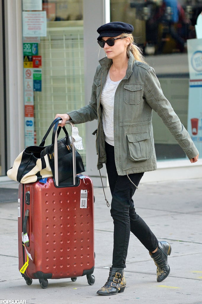 Diane Kruger accessorized her casual Fall look with Chloé boots and a stylish newsboy cap as she wheeled a suitcase out of her NYC hotel yesterday. She was in the Big Apple to celebrate the 80th anniversary of Chanel's Bijoux de Diamants fine jewelry collection, and stepped out with other famous faces for the event on Tuesday night. Diane sparkled in a dress by Chanel while Blake Lively and January Jones also wore looks from the designer. Blake brought her new husband, Ryan Reynolds, along for the party, though Diane was without her longtime boyfriend, Joshua Jackson. He's currently filming the final season of Fringe, with the latest episode hitting the small screen tomorrow.