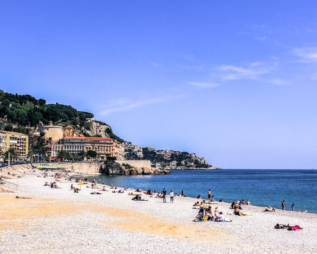 The lively beach scene