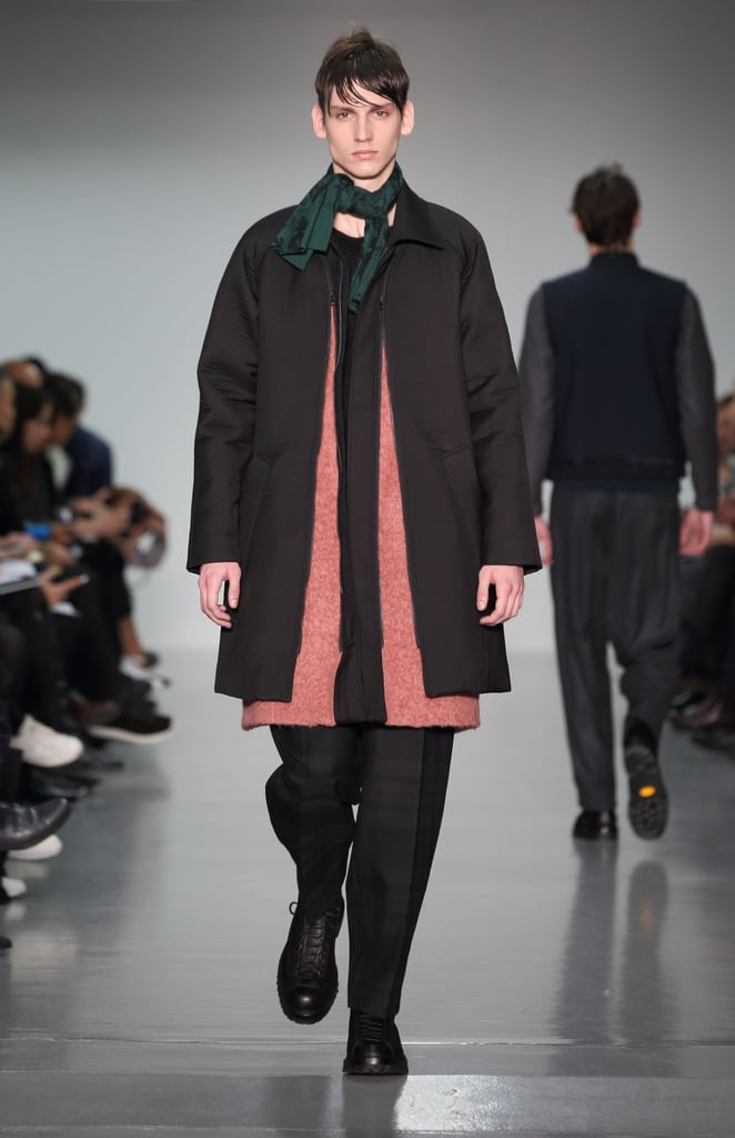 Source: WireImageMeanwhile Lou Dalton's collection brought a touch of femininity to her menswear collection, which was inspired by a photograph of her father in the 1960s. Coats and jackets could be unzipped and simplified to reveal vests and lighter pieces.
