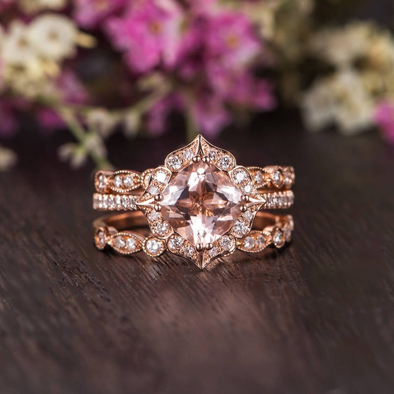 Three Piece Rose Gold Cushion Cut Morganite Diamond Art Deco Engagement Ring Set