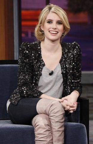Emma Roberts Wears Black Sequin Cardigan to Jay Leno Show