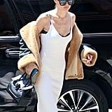 Gigi Hadid Wearing a Slip Dress and Shearling Jacket