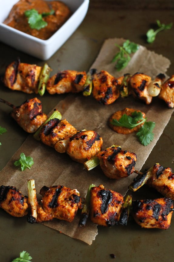 Grilled Chicken Kebabs With Red Pepper Cilantro Pesto