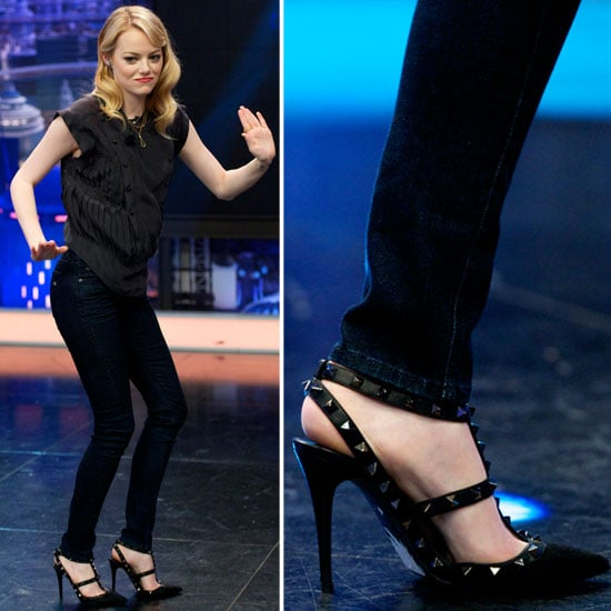Looks like Emma Stone is a studded- and spiked-shoe enthusiast — her black studded Valentino heels completed a cool Isabel Marant ensemble on top.