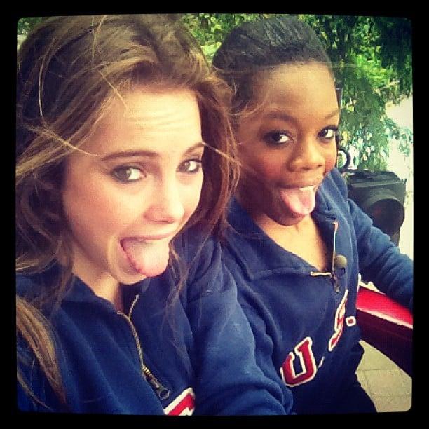 McKayla Maroney and Gabby Douglas snapped a silly shot. Source: Instagram user mckaylamaroney
