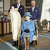 Queen Elizabeth II posed with the three top heirs to the throne on Prince George's christening day.