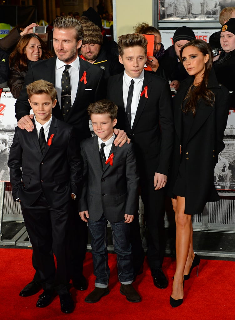 Victoria, David, and their boys walked the red carpet at the world premiere of The Class of '92 in London in December 2013.