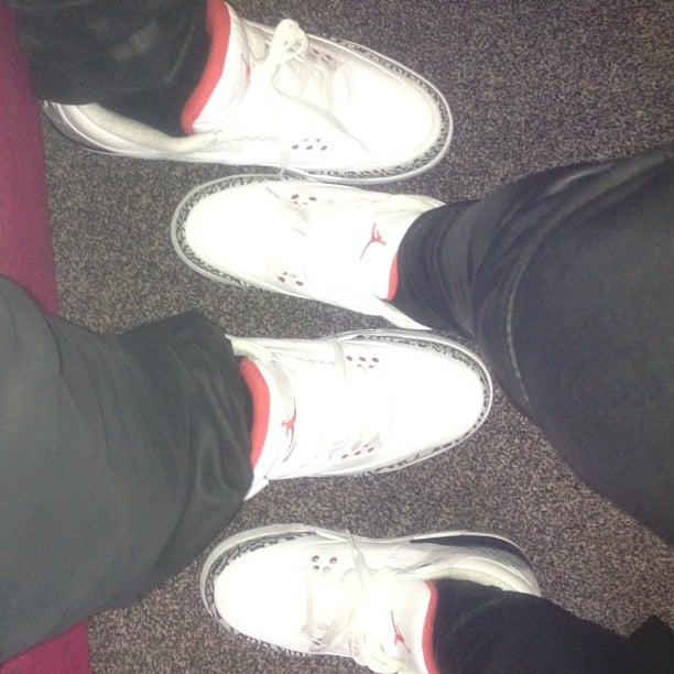 Kim Kardashian and Kanye West showed off their matching Jordans. Source: Instagram user kimkardashian