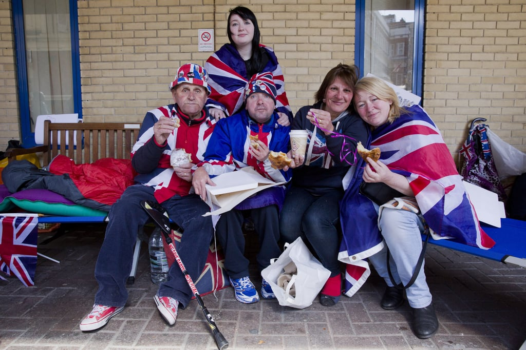 """Some dedicated fans of the royal family received a special treat from Prince William and Kate Middleton on Tuesday. The royal couple sent a breakfast of hot drinks and pastries to the group after seeing pictures of them camped across the street from the private Lindo Wing of St Mary's Hospital. A palace source confirmed the gift to People, and 49-year-old Maria Scott talked about the delivery, saying two men brought two boxes of pastries tied with pink ribbons, plus 10 cups of coffee. """"They knocked on the tent and said, 'Good morning, we have a present from the Duke and Duchess of Cambridge,'"""" she said.  Other members of the group shared how touched they were by the act, with 79-year-old Terry Hutt saying, """"I can feel my hands now. I was in shock,"""" and 52-year-old Kathy Martin adding, """"We're going to give them a really love thank-you card."""" The Duchess of Cambridge is reportedly five days past due, and the group has been at the hospital since April 16. As the world awaits the royal baby's arrival, look back at the couple's road to baby number two plus signs they might be having a girl."""